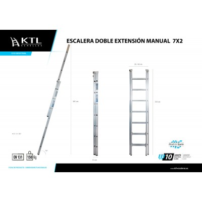 Escalera Doble Extensión Manual 7x2 Modelo 1007